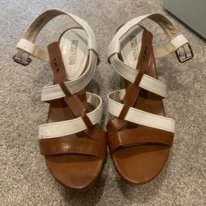 Cognac and white Kenneth Cole wedges. Size 7